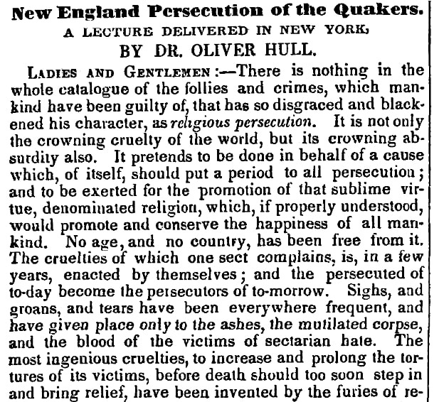 An article about the Quakers, Boston Investigator newspaper article 10 November 1852