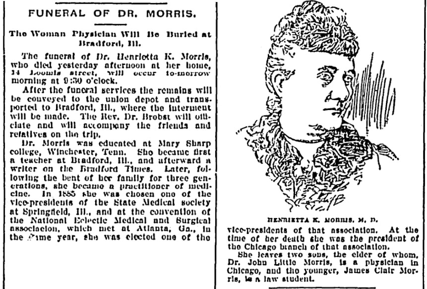 An article about Dr. Henrietta K. Morris, Chicago Daily News newspaper article 10 February 1896