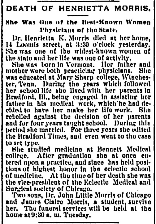 An article about Henrietta Morris, Chicago Record newspaper article 10 February 1896