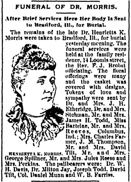 An article about Dr. Henrietta K. Morris, Chicago Record newspaper article 12 February 1896