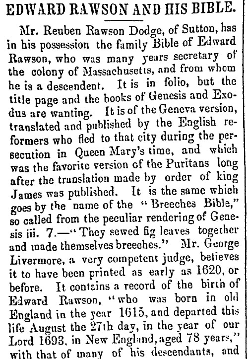 An article about Edward Rawson, Christian Witness and Church Advocate newspaper article 6 April 1860