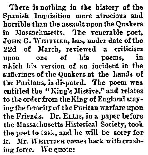 An article about the Quakers, Cincinnati Commercial Tribune newspaper article 1 April 1881