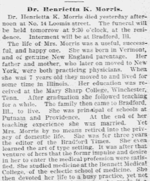 An article about Dr. Henrietta K. Morris, Daily Inter Ocean newspaper article 10 February 1896