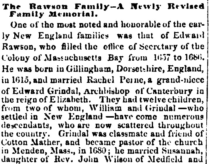An article about the Rawson family, Daily Kennebec Journal newspaper article 9 August 1875