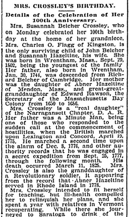 An article about Susannah Crossley, Evening Bulletin newspaper article 30 September 1902