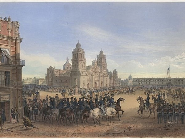 Illustration: General Winfield Scott leads American troops into Mexico City on 14 September 1847, entering the Plaza de la Constitución; the Metropolitan Cathedral is in the background. Credit: Carl Nebel; Wikimedia Commons.