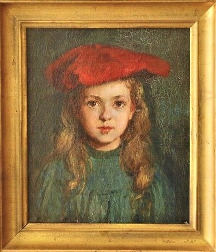 """Illustration: """"Dorothy,"""" done with oil paints, painted by Lee Lufkin Kaula in Essex, 1909. Courtesy of Carolyn Hart Wood private collection."""