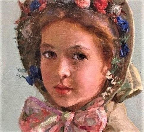 "Illustration: ""Girl Wearing Her Grandmother's Wedding Bonnet"" by Lee Lufkin Kaula. Credit: Springfield Museums."