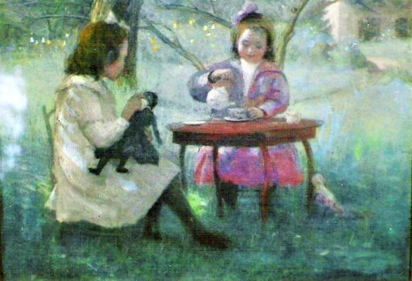 """Illustration: """"The Tea Party,"""" watercolor painted by Lee Lufkin Kaula in Essex, 1904. Courtesy of Carolyn Hart Wood private collection."""
