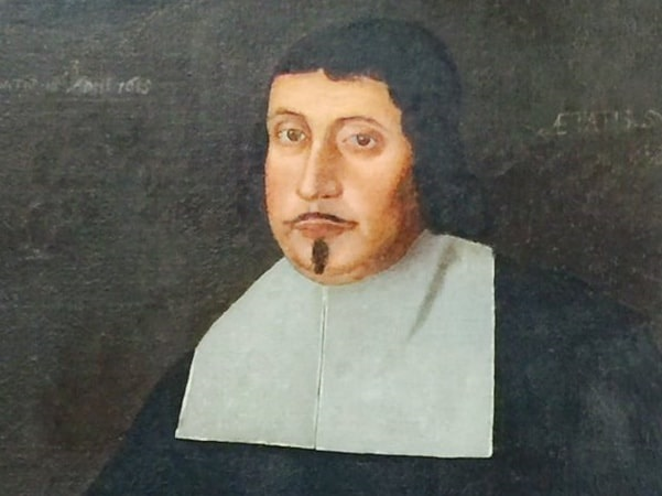 Illustration: close-up of a portrait of Edward Rawson, by the Freake Painter, c. 1670. Credit: New England Historic Genealogical Society; Wikimedia Commons.