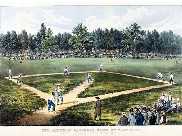"""Illustration: """"The American National Game of Baseball -- Grand Match for the Championship,"""" depiction of a baseball game at the Elysian Fields in Hoboken, NJ. One of the teams is probably the New York Knickerbockers. Lithograph by Currier & Ives, c. 1866. Credit: Wikimedia Commons."""