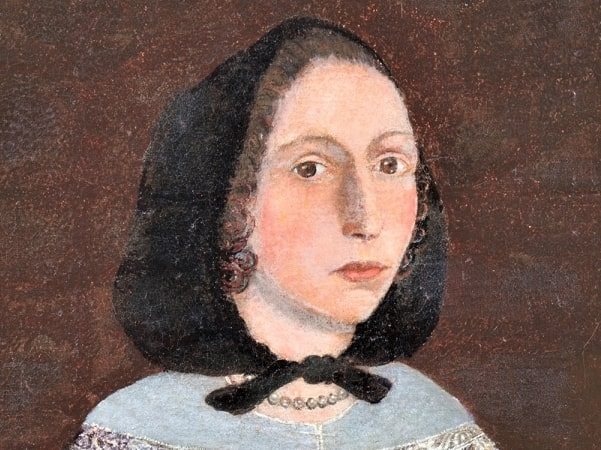Illustration: a close-up of a portrait of Rebecca Rawson, by the Freake Painter, c. 1670. Courtesy of the New England Historic Genealogical Society.