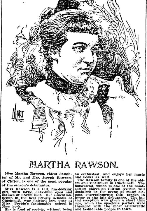 An article about Martha Rawson, Kentucky Post newspaper article 16 December 1896