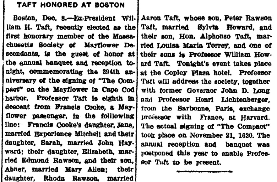 An article about William Howard Taft, Las Vegas Daily Optic newspaper article 8 December 1914
