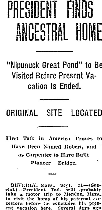 An article about William Howard Taft, Oregonian newspaper article 22 September 1912