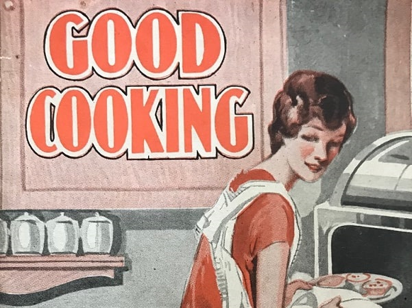 """Photo: close-up of the cover of """"Good Cooking"""" by R. V. Pierce, M.D. Credit: Gena Philibert-Ortega."""