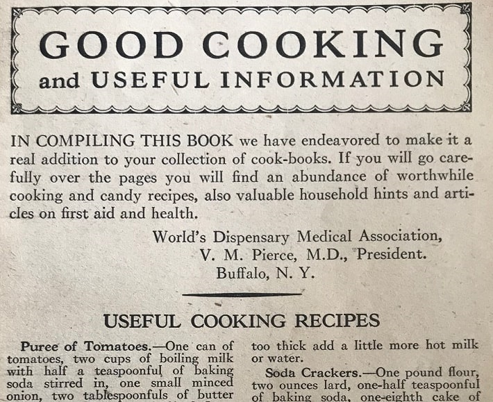 """Photo: recipes from """"Good Cooking"""" by R. V. Pierce, M.D."""