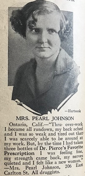 """Photo: Mrs. Pearl Johnson, from """"Good Cooking"""" by R. V. Pierce, M.D."""