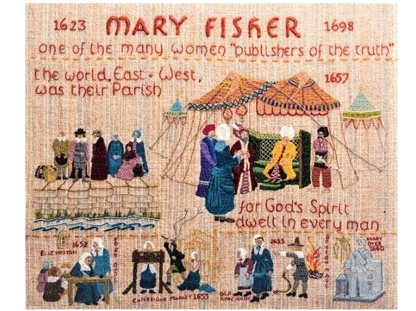 """Photo: Quaker tapestry devoted to Mary Fisher. Courtesy of Patheos.com from """"Great Quaker Women: Mary Fisher, Jailed Repeatedly for Preaching."""""""