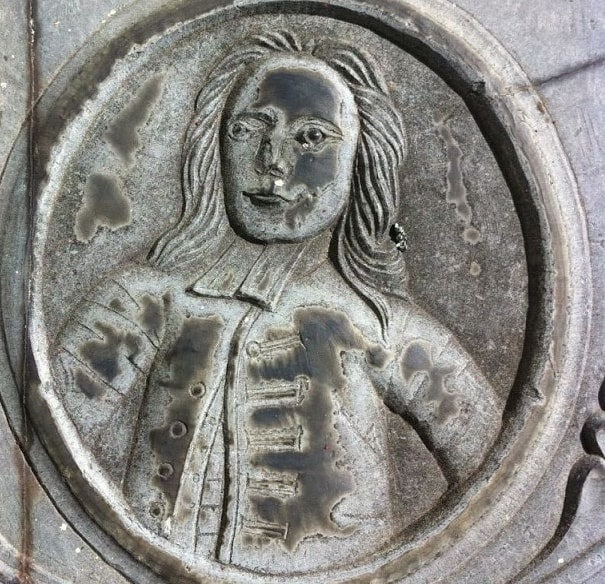 Photo: portrait of Grindall Rawson from his gravestone