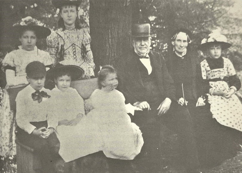 Photo: Joseph Rawson and his wife Mary Whiting Richards with their grandchildren. From L to R: standing are Lucy and Martha; seated are Joseph, Marjorie, Jeannette, Grandfather Joseph III, Grandmother Mary, and Bessie. Courtesy of Richard Smith family collection.