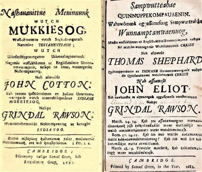 """Photo: translation by Rev. Grindal Rawson of John Cotton's """"Spiritual Milk for Babes,"""" under the title """"Milk for Babes,"""" into Algonquian; and the translation of Thomas Shephard's [Shepard] """"The Sincere Convert"""" by John Eliot and Grindal Rawson, also into Algonquian. Courtesy of the American Antiquarian Society."""