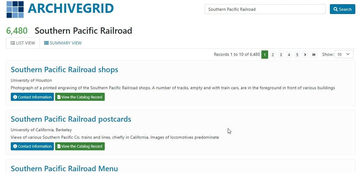 """Screenshot: search for """"Southern Pacific Railroad."""" Credit: ArchiveGrid."""