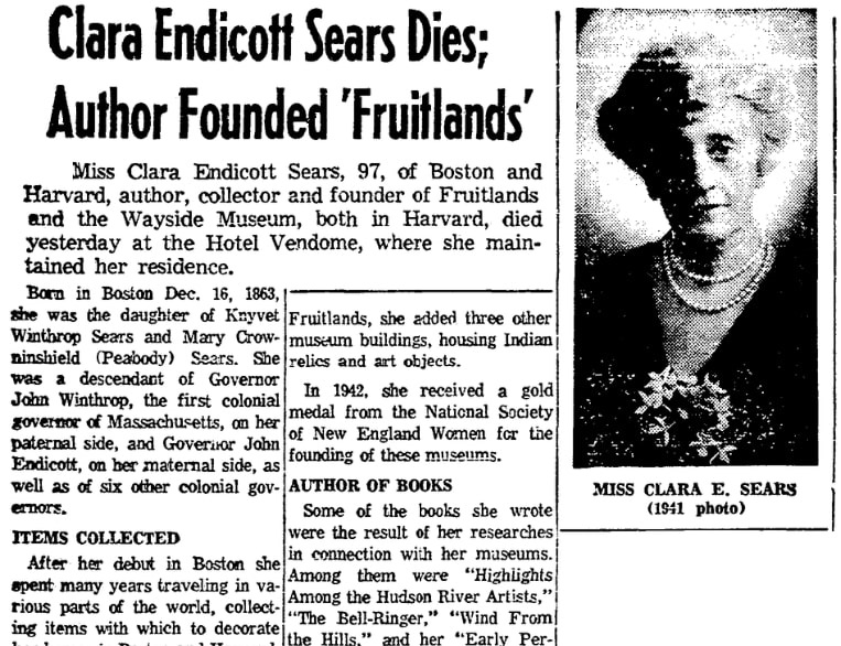 An article about Clara Endicott Sears, Boston Herald newspaper article 26 March 1960