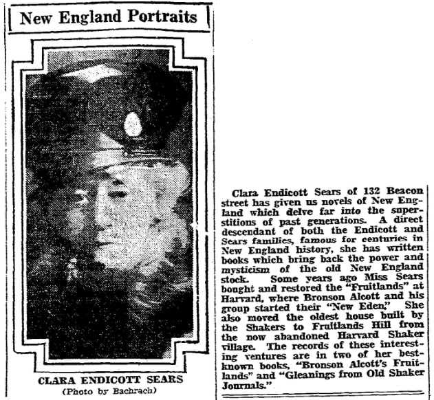 An article about Clara Endicott Sears, Boston Herald newspaper article 7 May 192