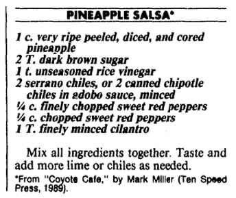 A pineapple salsa recipe, Boston Herald newspaper article 8 July 1990