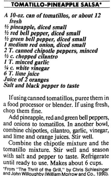 A tomatillo-pineapple salsa recipe, Boston Herald newspaper article 8 July 1990