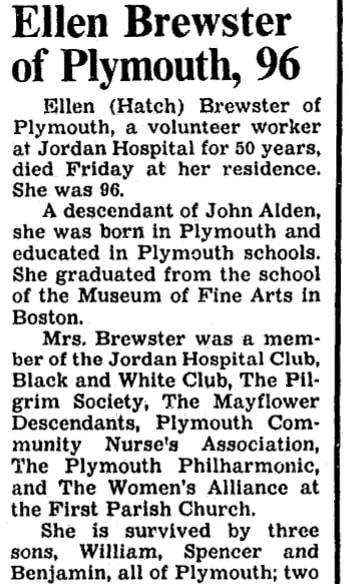 An article about Ellen Hatch Brewster, Boston Herald newspaper article 30 September 1991