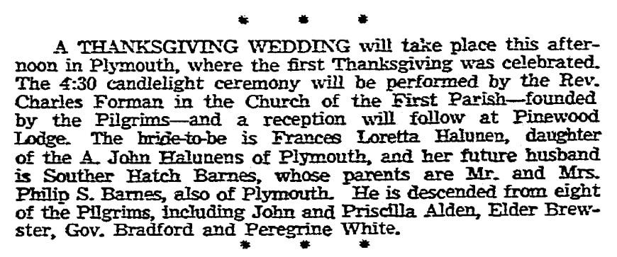 Halunen-Barnes wedding announcement, Boston Herald newspaper article 25 November 1954