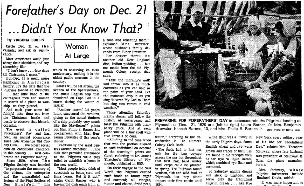 An article about Forefathers' Day, Boston Herald newspaper article 18 December 1974