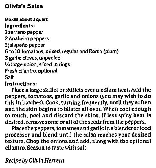 Olivia's salsa recipe, Huntsville Times newspaper article 23 August 2017