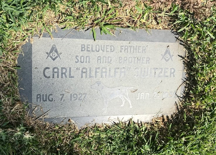 Photo: grave marker for Carl Switzer, Hollywood Forever Cemetery, Los Angeles, California