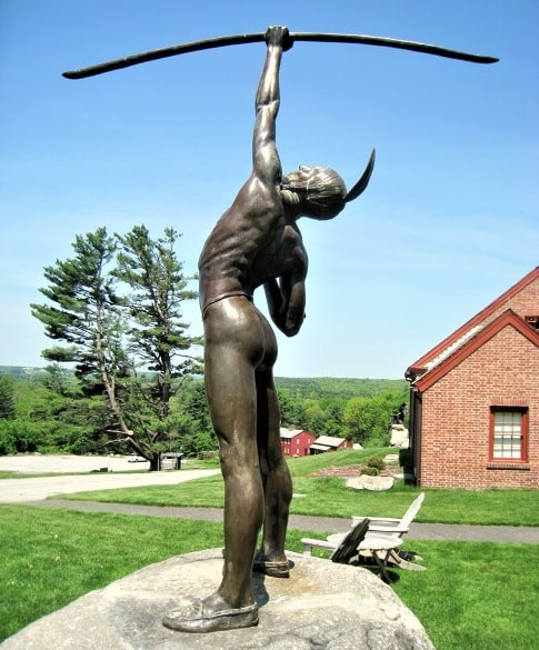 """Photo: """"Pumanangwet"""" (He Who Shoots the Stars), bronze sculpture made by Philip Shelton Sears, 1929, and now located on the Fruitlands Museum property"""