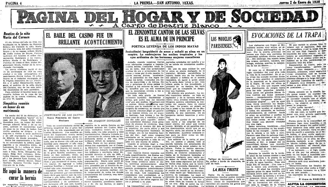 La Prensa (San Antonio, Texas), 2 January 1930, page 4