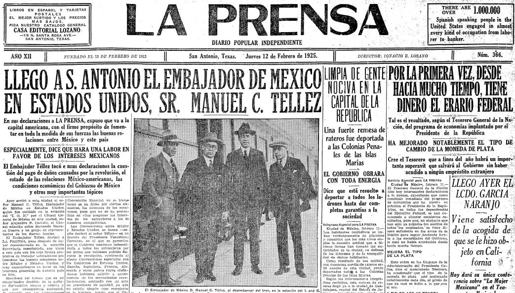 La Prensa (San Antonio, Texas), 12 February 1925, page 1