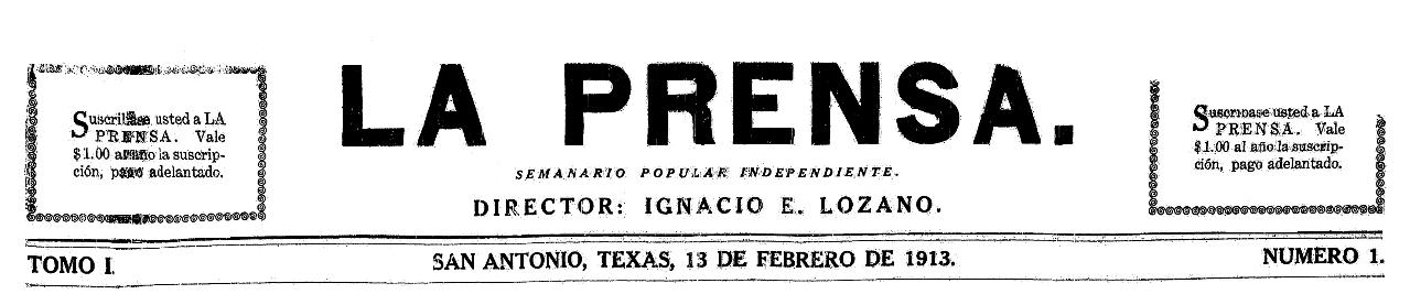 La Prensa (San Antonio, Texas), 13 February 1913, page 1