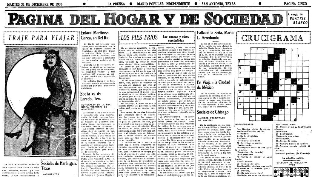 La Prensa (San Antonio, Texas), 31 December 1935, page 5