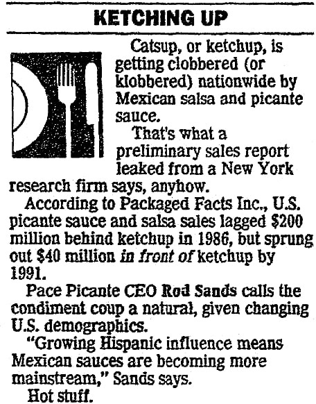 An article about salsa, San Antonio Light newspaper article 5 March 1992