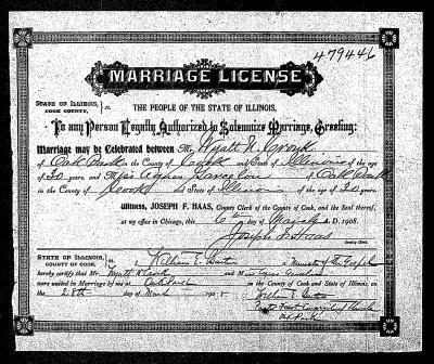 Chicago Marriage certificates 1871-1920 going online