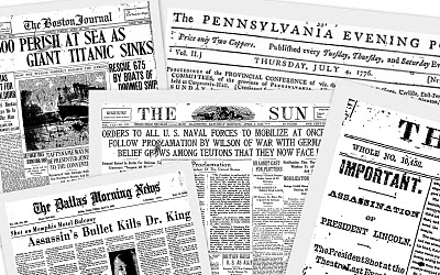 Get the front page of the day you were born or any day in history!