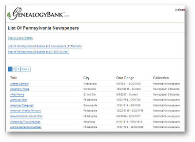 Search Tips: What Newspapers Are in GenealogyBank?